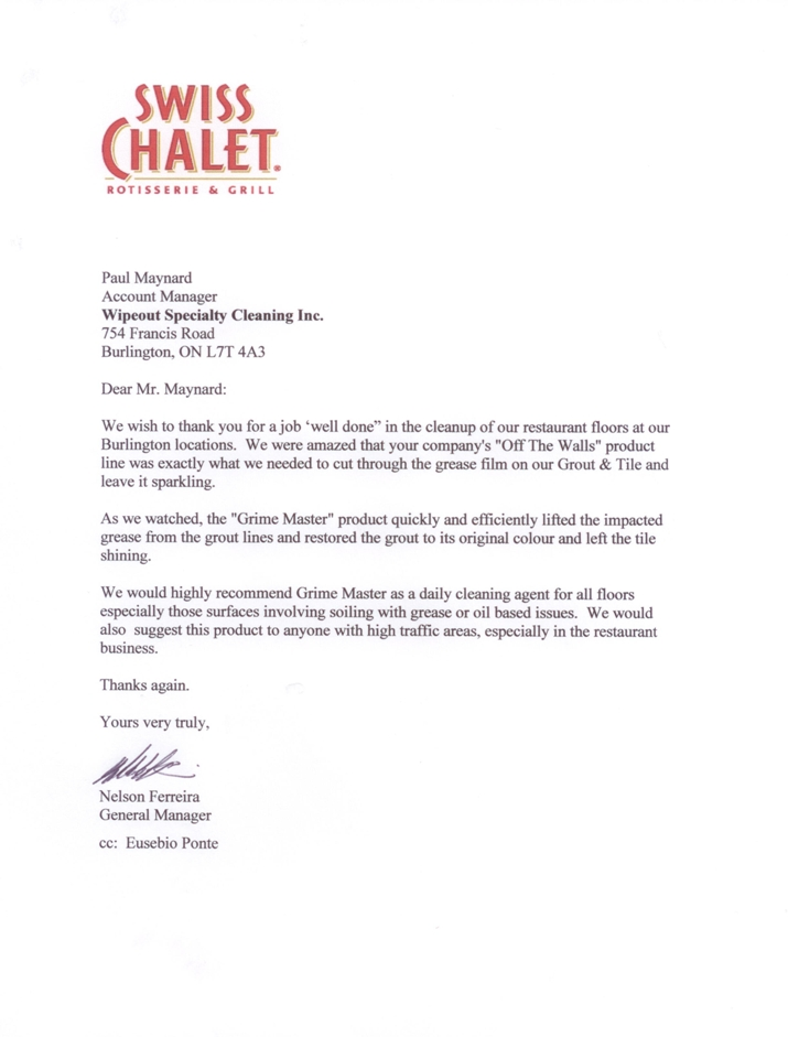 Customer feedback from Swiss Chalet.